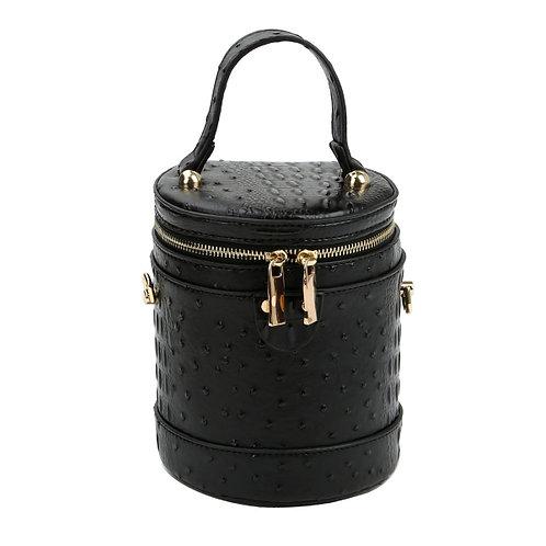 Black Ostrich Barrel Crossbody Bag