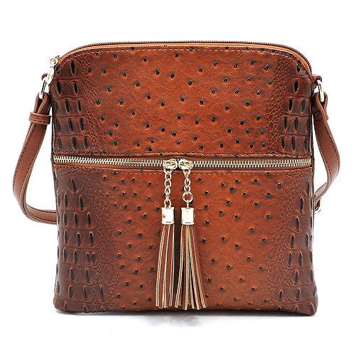 Brown Ostrich Croc Zip Tassel Crossbody Bag