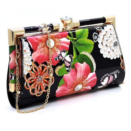 Floral Kiss Lock Clutch