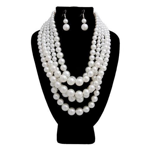 White Layered beaded necklace set
