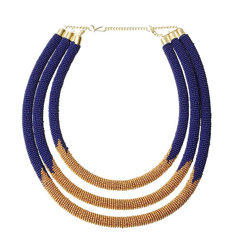SGRho Sorority: Blue and Gold beaded necklace set