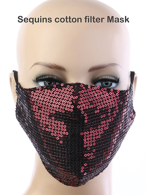 Red Sequin  mask with filter pocket
