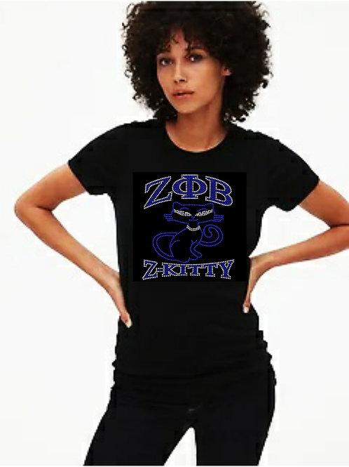 Zeta Sorority: Z-Kitty Bling tee or Tote bag