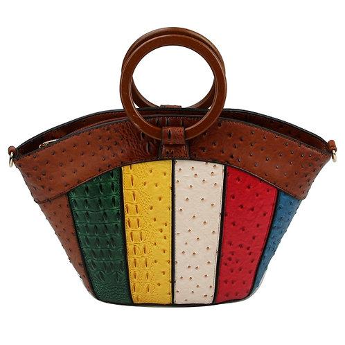 Ostrich Stripe Ring Handle Bag