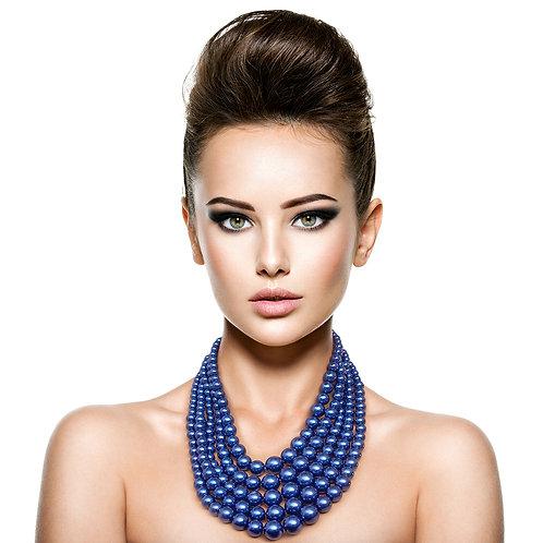 Greek Inspired Royal Blue Strand Pearl necklace set