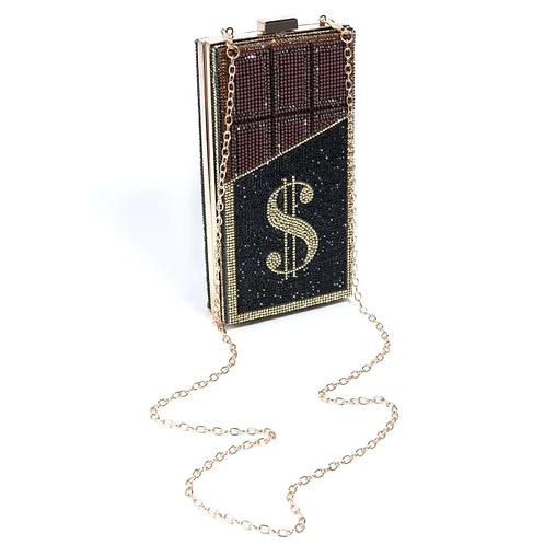 Bling Gold Metal Rectangle Hardcase Clutch Handbag