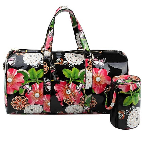 Black Floral Print Duffel Bag Set