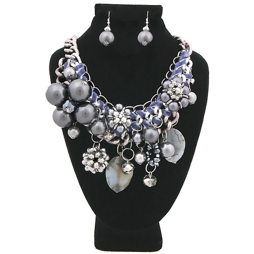 Chunky Chain Hematite Pearl, Crystal, and Bead Charm Necklace Set