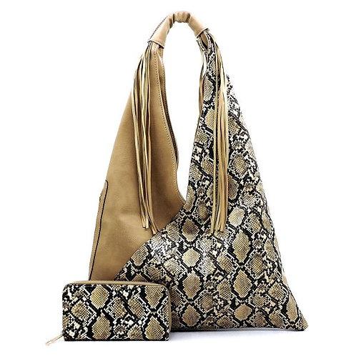 Light Brown Snake Fringe Hobo Bag Set