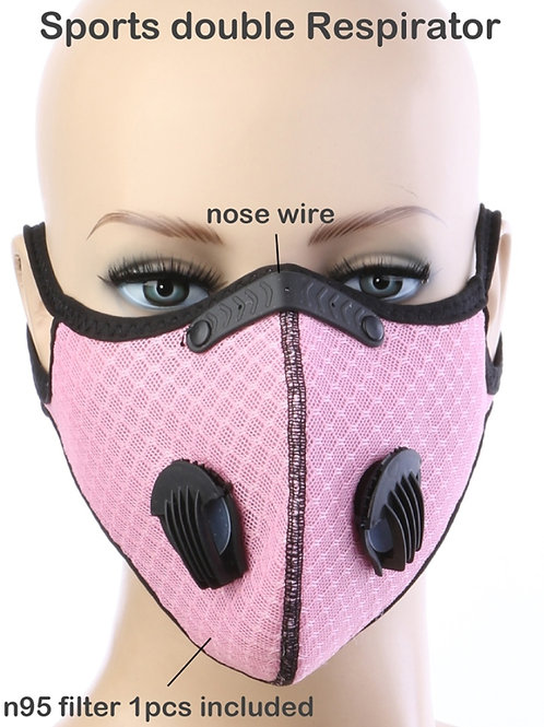 Pink Sports Dual On-way discharge valve Face Mask