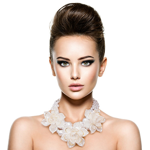Pearl and Flower Choker Necklace Set