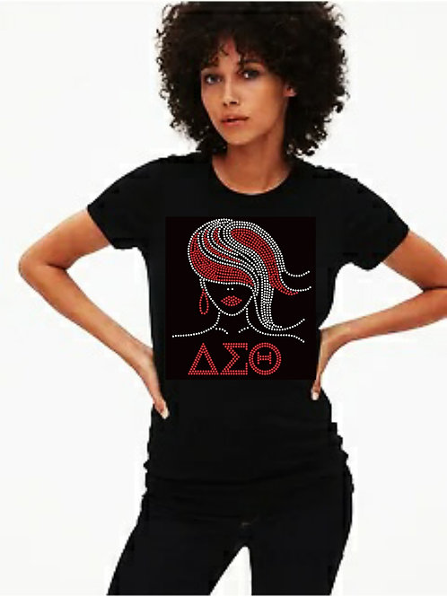 Delta Sorority: Flowing Hair Bling tee or Tote bag