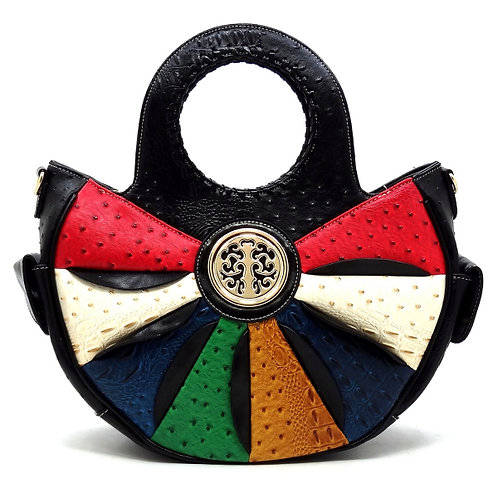 Black Patchwork Rounded Tote