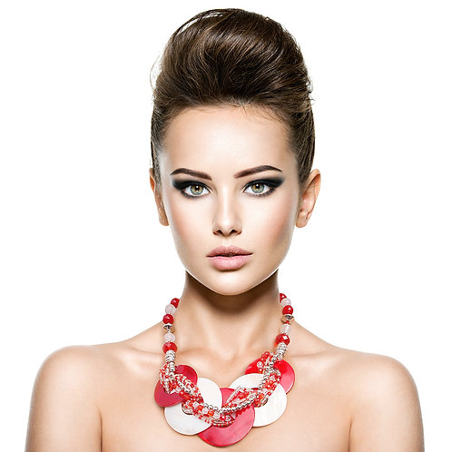 Delta Inspired Red and White beaded necklace set