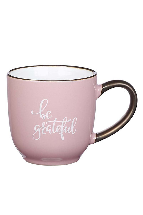 Be Grateful pink and bronze mug