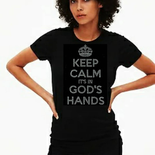 Keep Calm: God's Hands bling tee or Tote bag