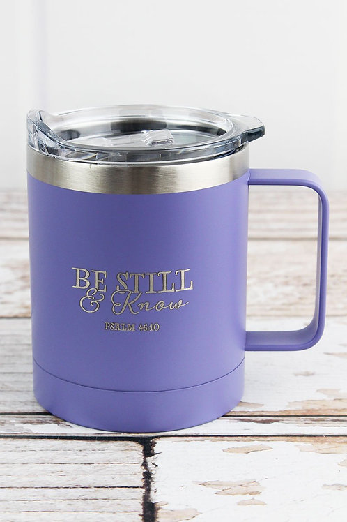 Be Still & Know mug with lid