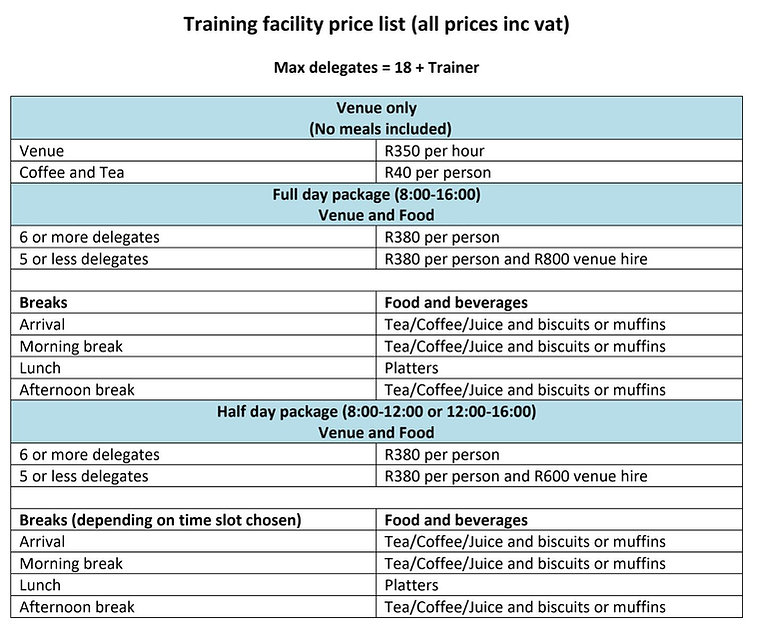 Training facility price list 2020 Websit