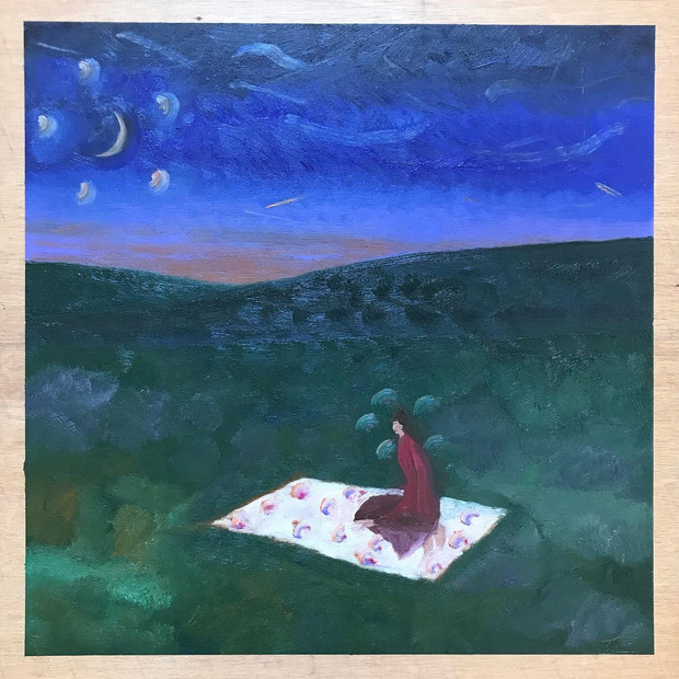 """Contemplation Under a Crescent Moon"""