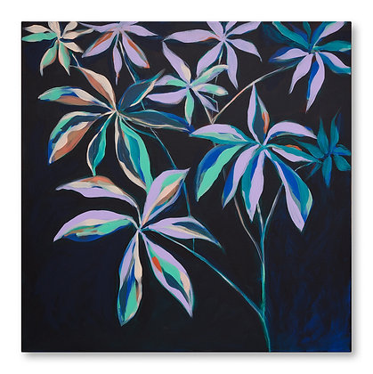 Umbrella plant in violet and teal