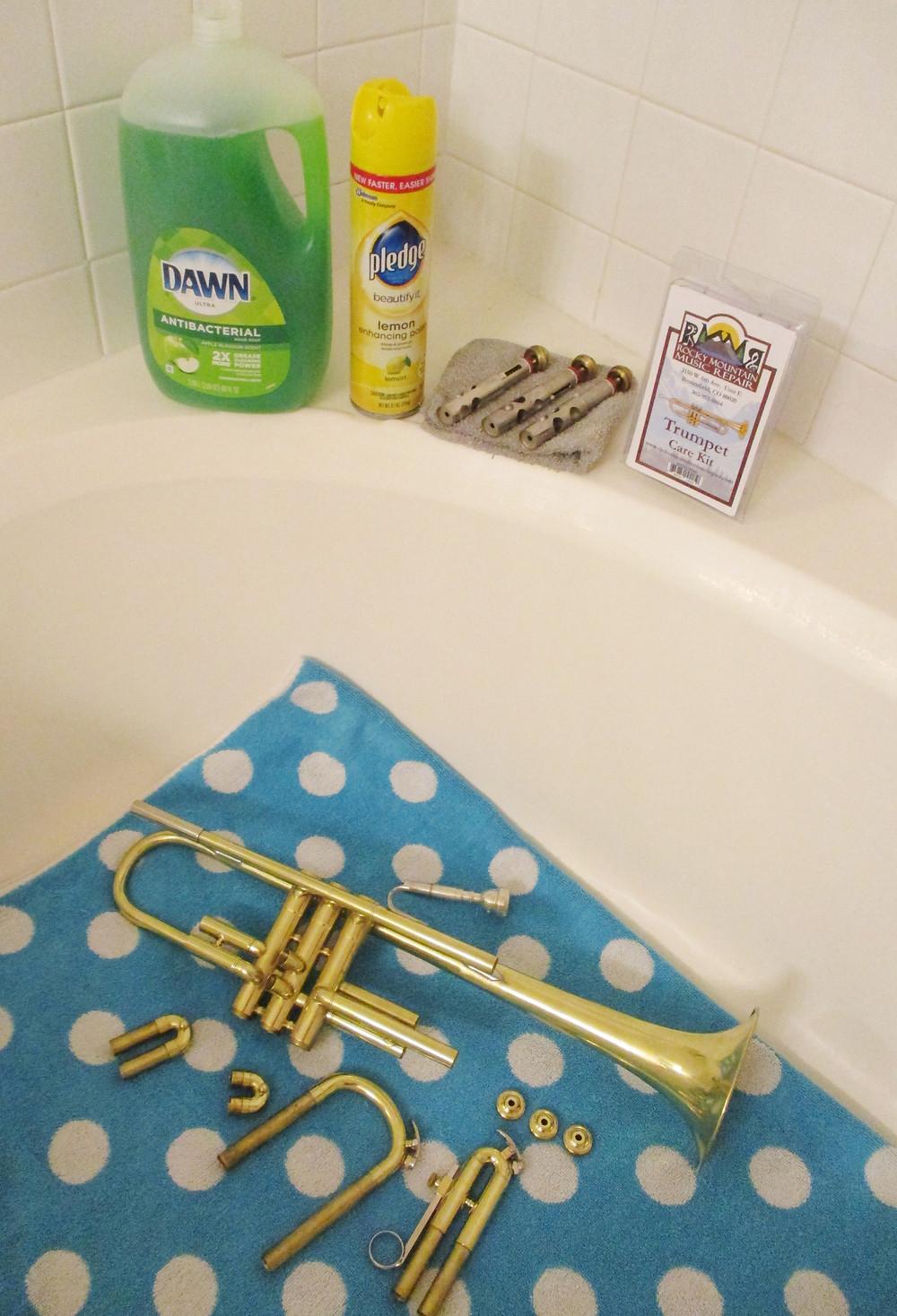 Trumpet getting a Bath