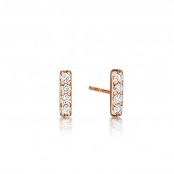 Petite Diamond Bar Studs in 14K Rose Gold