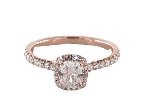 Cushion Halo Engagement Ring in 14K Gold - Customize