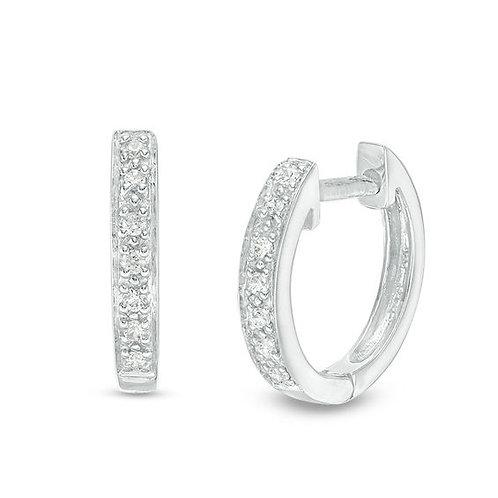 14K Whitw Gold Diamond Huggies (0.36ctw)
