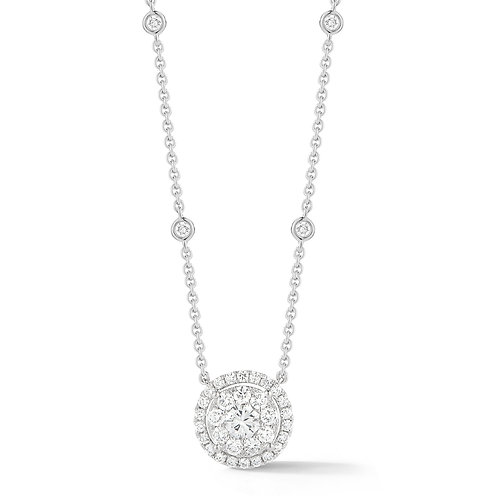14K White Gold 'Halo by the Yard' Necklace Setting (0.75ctw)