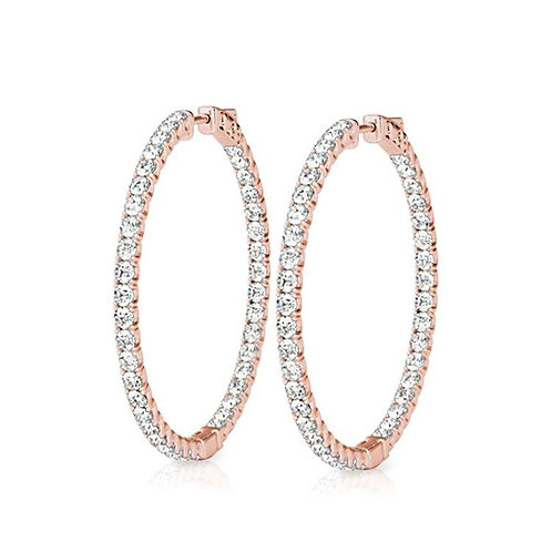 Oval Shaped Diamond Hoops in 14K Rose Gold (2.00ctw)
