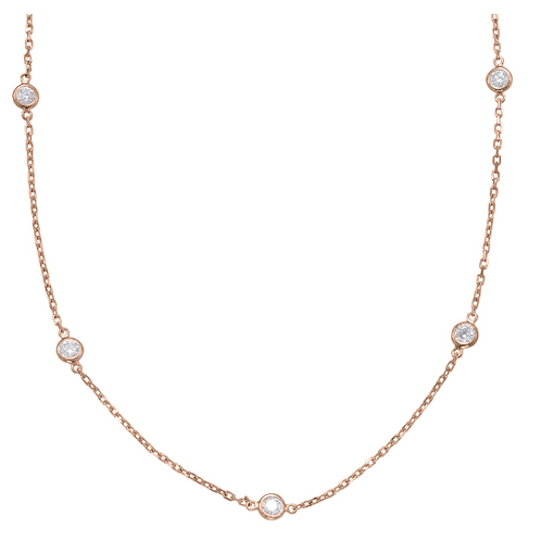 14K Rose Gold Diamond by the Yard Necklace (0.35ctw)