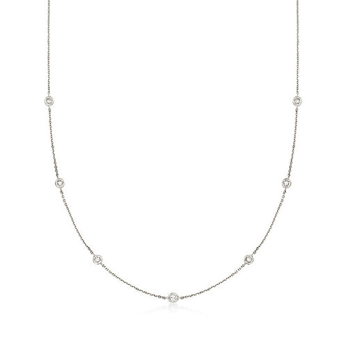 14K White Gold Diamond by the Yard Necklace (0.35ctw)
