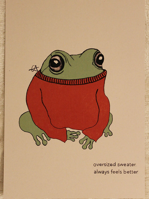 A5 frog in an oversized sweater print