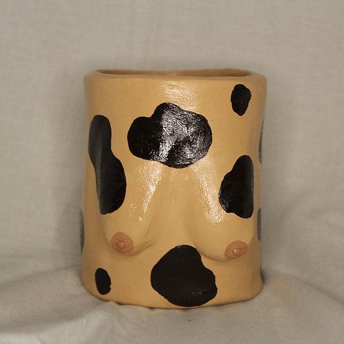 brown cow print boob pot
