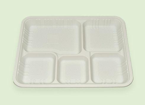 Bandeja 5 divisiones de plastico biodegradable en Cali Colombia