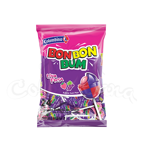 Lollipop grape and strawberry Bon Bon Bum Uva Fresa colombian candy in NZ