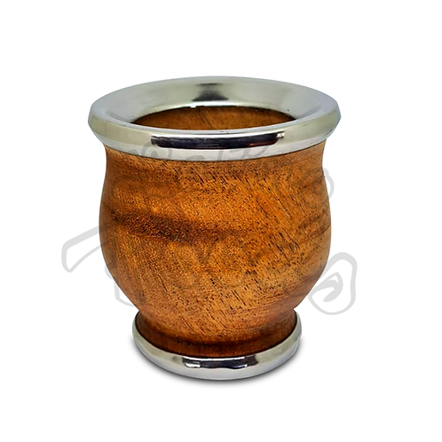 Wooden Cup for Mate with Silver Rim