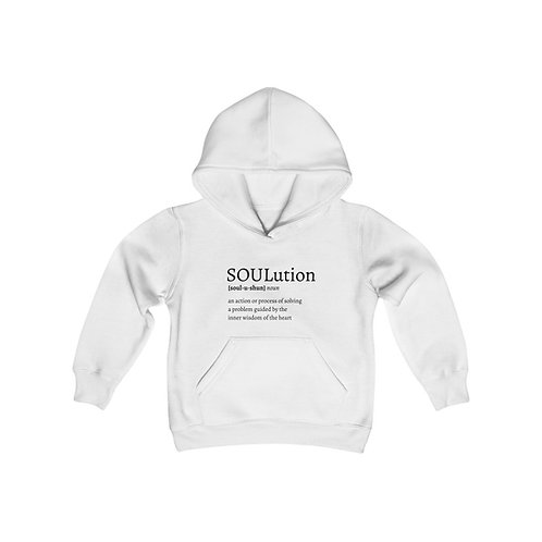 Define SOULutions Youth Hooded Sweatshirt (Stylized/White)