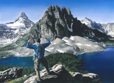 Commissioned painting of hiker at Mt. Assiniboine. (sold)