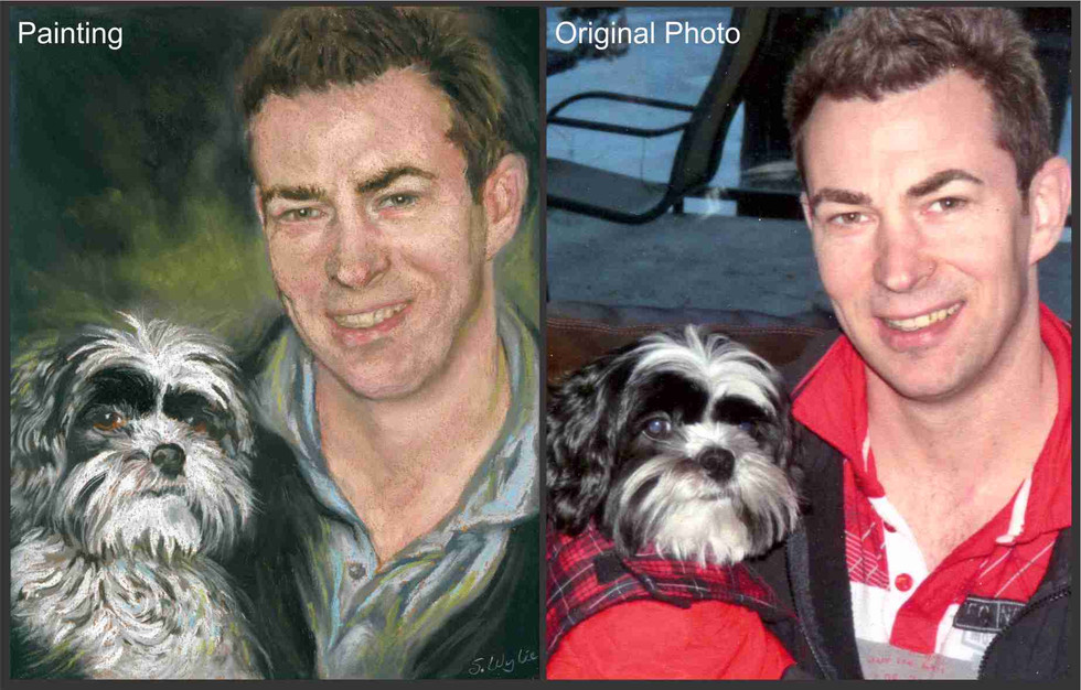 Shih Tzu dog and man custom portrait