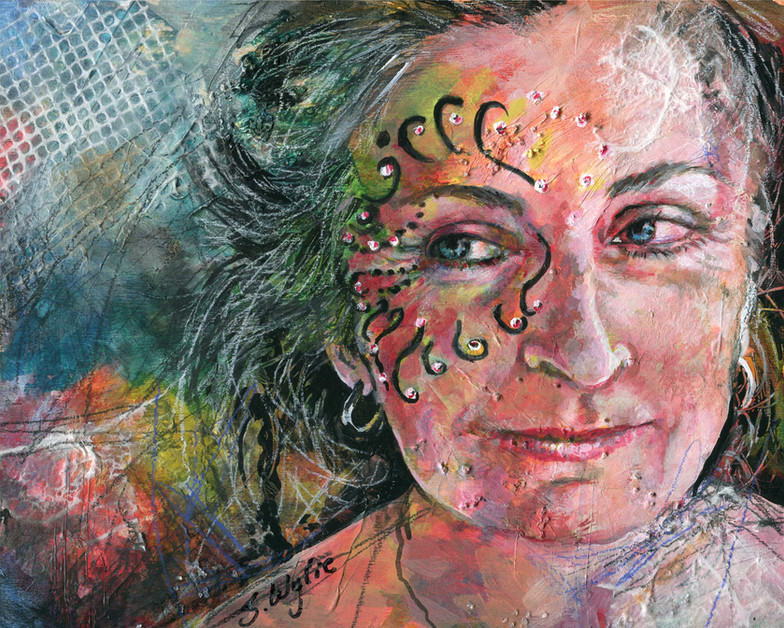 Mixed media self portrait of Shannon Wylie.