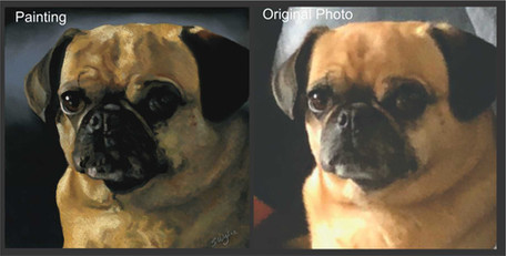 Commissioned pastel painting of a puggle.