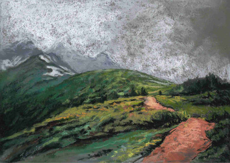 """""""Stormy Path to Assiniboine"""" (sold)"""