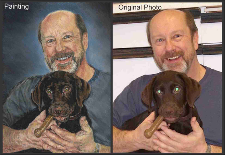 Commissioned portrait of a man and chocolate lab puppy