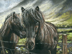 Custom pastel painting of two brown horses.