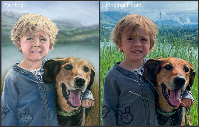 Commissioned portrait of a boy and dog.