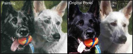 Commissioned pastel pet portrait of 2 shepherds.