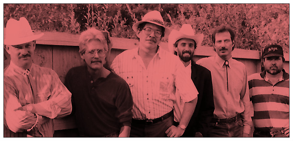 Hickory Wind.  L-R: Tony Cason, Ronnie Griffin, George Farr, Uncle Dave, John R. Smith, Billy Ray Herrin, 1991