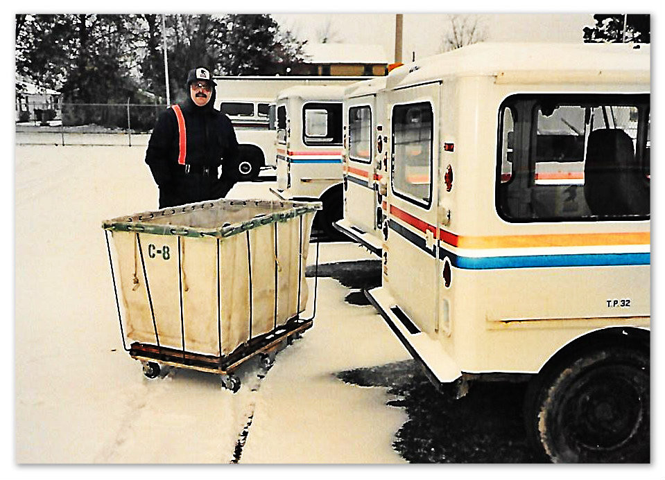 Neither snow nor rain nor heat nor gloom of night stays these couriers from the swift completion of their appointed rounds.  Jerry Buckley, Dec. 25, 1989