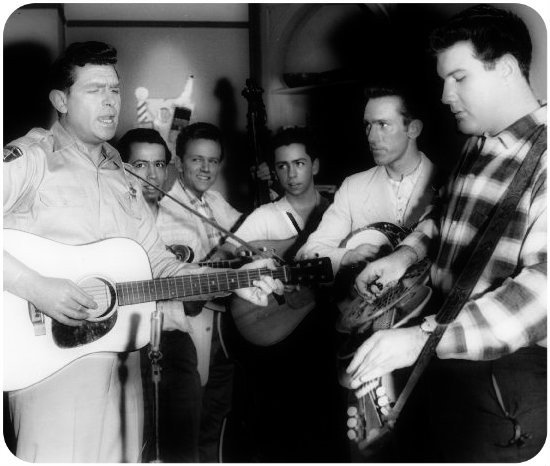 L-R: Andy Griffith, Roland White, Eric White, Clarence White, Billy Ray Latham, Leroy Mack. 1961